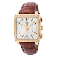 Tag Heuer Monaco Cw5140 With 7 in. Band, Yellow-Gold Bezel & Silver Dial