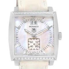 Tag Heuer Monaco MOP Diamond Dial White Strap Ladies Watch WAW1313