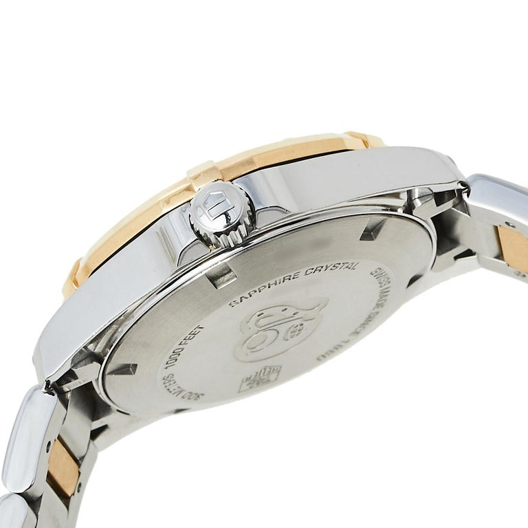 Contemporary Tag Heuer MOP 18K Yellow Gold & Stainless Steel Diamonds Aquaracer Wristwatch 32 For Sale