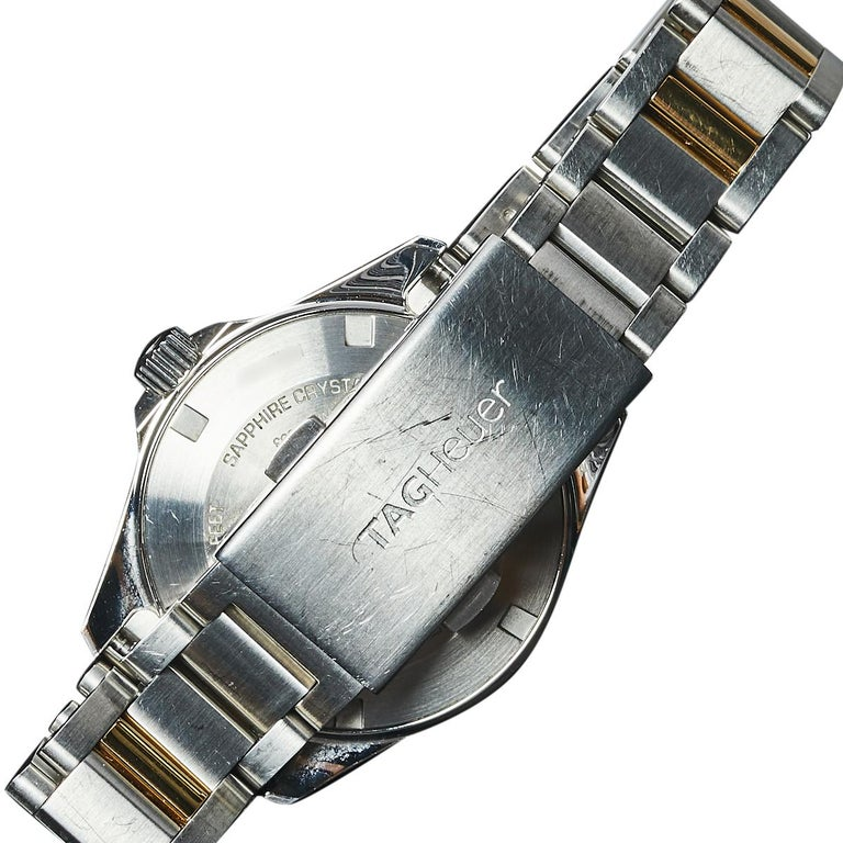 Women's Tag Heuer MOP 18K Yellow Gold & Stainless Steel Diamonds Aquaracer Wristwatch 32 For Sale