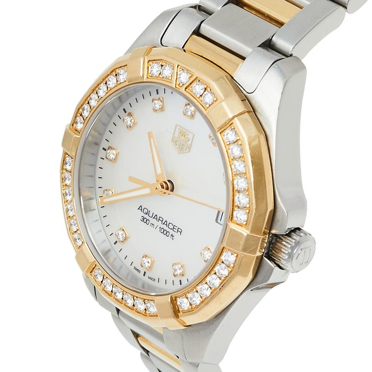 Tag Heuer MOP 18K Yellow Gold & Stainless Steel Diamonds Aquaracer Wristwatch 32 For Sale 1