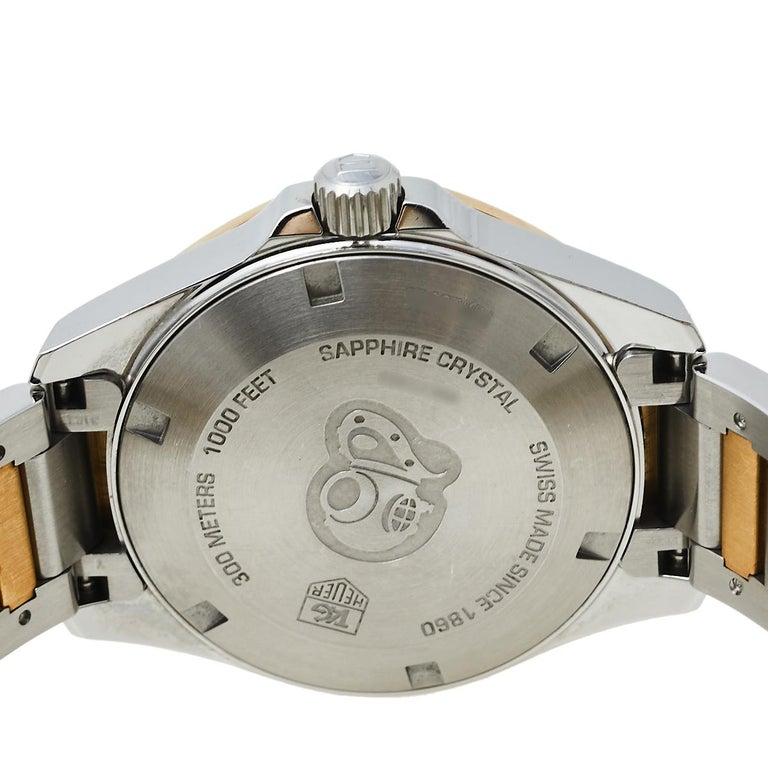 Tag Heuer MOP 18K Yellow Gold & Stainless Steel Diamonds Aquaracer Wristwatch 32 For Sale 3