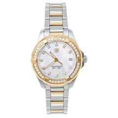 Tag Heuer MOP 18K Yellow Gold & Stainless Steel Diamonds Aquaracer Wristwatch 32