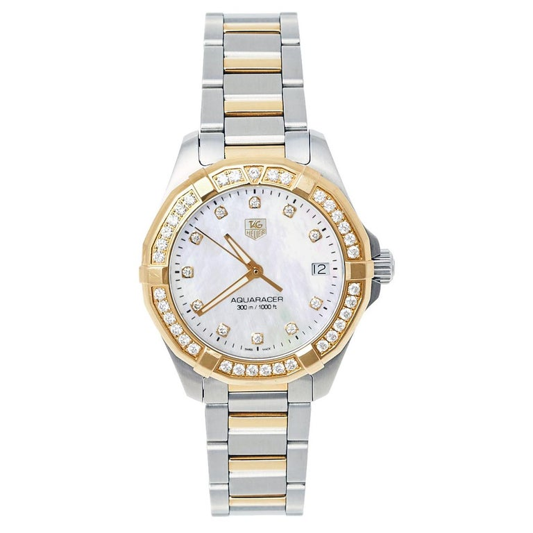 Tag Heuer MOP 18K Yellow Gold & Stainless Steel Diamonds Aquaracer Wristwatch 32 For Sale