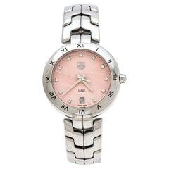 Tag Heuer Pink Stainless Steel Diamonds Link WAT1313 Women's Wristwatch 34.50 mm