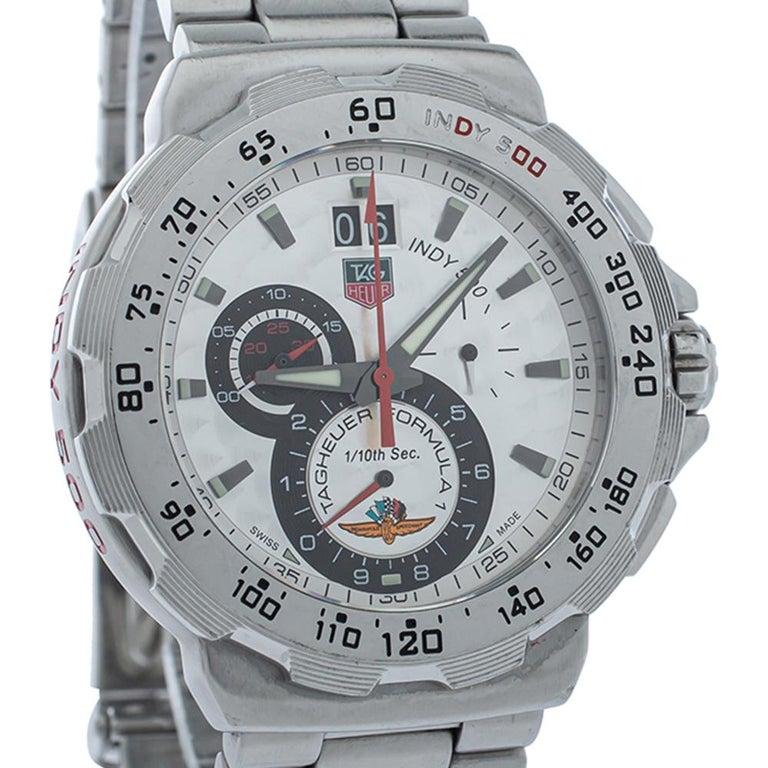 Uncut Tag Heuer Silver Steel Formula Chronograph Quartz Men's Wristwatch 44MM For Sale