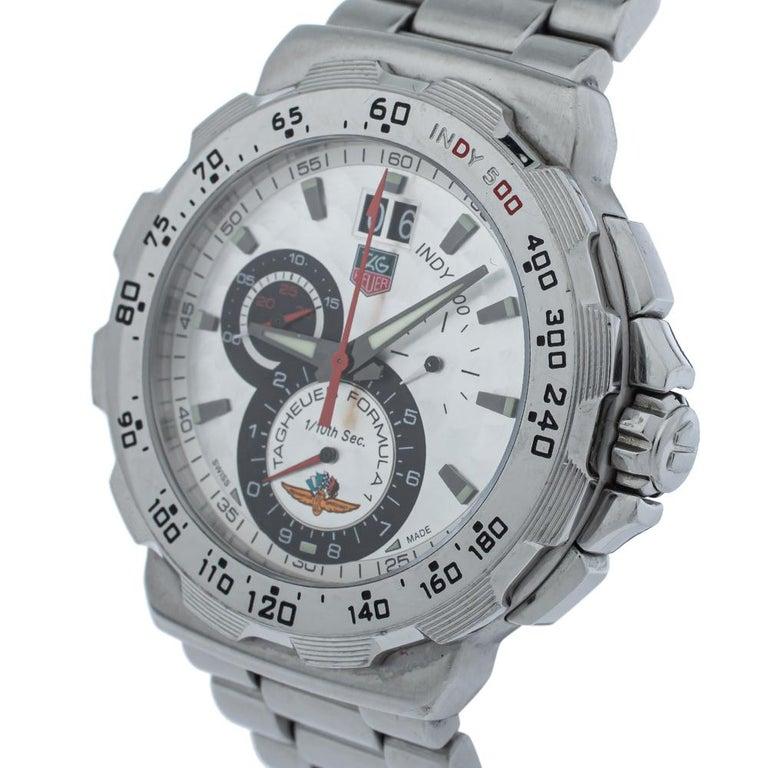 Tag Heuer Silver Steel Formula Chronograph Quartz Men's Wristwatch 44MM In Good Condition For Sale In Dubai, Al Qouz 2