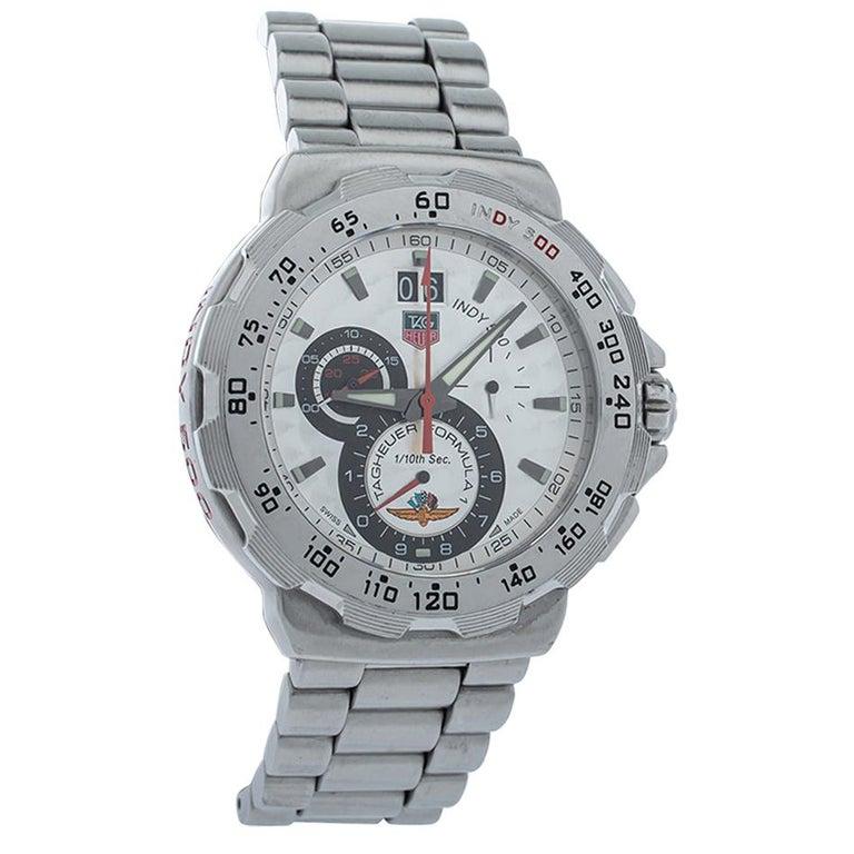 Tag Heuer Silver Steel Formula Chronograph Quartz Men's Wristwatch 44MM For Sale