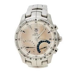 Tag Heuer Silver White Link Calibre S CJF7111 Men's Wristwatch 42 mm