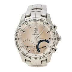 Tag Heuer Silver White Stainless steel Link Calibre S CJF7111 Men's Wristwatch