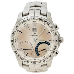 Tag Heuer Silver White Stainless steel Link Calibre S Men's Wristwatch 42 mm