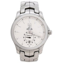 Tag Heuer Silver White Stainless Steel Link WJF211B Men's Wristwatch 39 mm