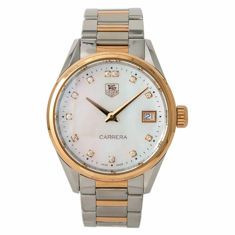 Tag Heuer War1352 Carrera Women S Watch Rose Gold Mother Of Pearl Dial Quartz