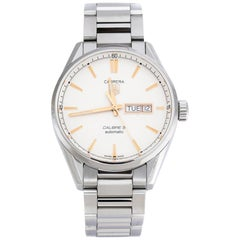 Tag Heuer White Carrera Calibre 5 WAR201D.BA0723 Men's Wristwatch 40 mm