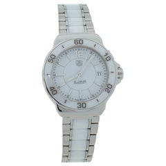 Tag Heuer White Ceramic Stainless Steel Formula 1 WAH1211 Womens Wristwatch 34mm