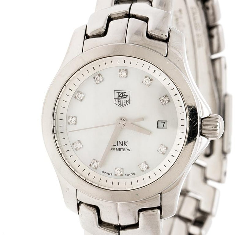 Contemporary Tag Heuer White Mother of Pearl  Link WAF1317 Women's Wristwatch 26 mm