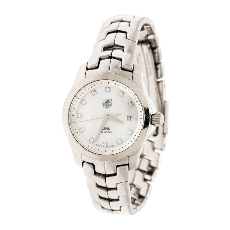 Tag Heuer White Mother of Pearl  Link WAF1317 Women's Wristwatch 26 mm