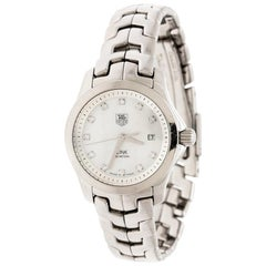 Tag Heuer White Mother of Pearl Stainless Steel WAF1317 Women's Wristwatch 26 mm