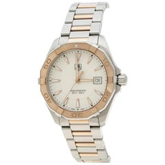 Tag Heuer White Rose Gold Tone Stainless Steel Aquaracer Men's Wristwatch 40 mm