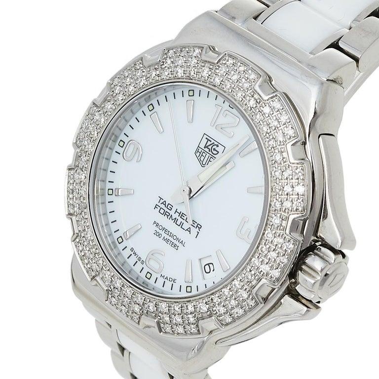 Contemporary Tag Heuer White Stainless Steel & Ceramic Diamonds Formula Women's Wristwatch 37