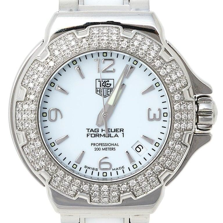 Tag Heuer White Stainless Steel & Ceramic Diamonds Formula Women's Wristwatch 37 In Good Condition In Dubai, Al Qouz 2