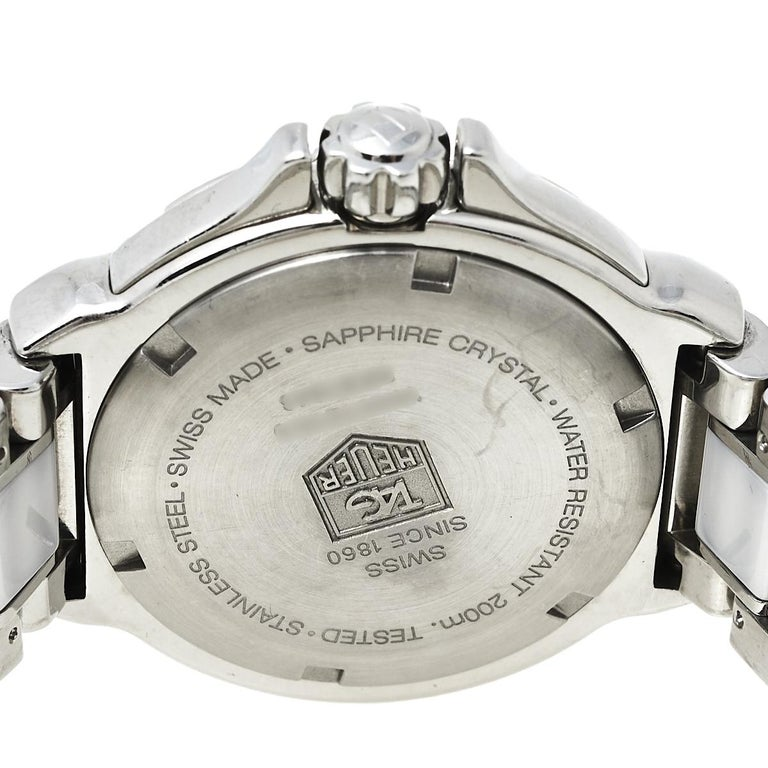 Tag Heuer White Stainless Steel & Ceramic Diamonds Formula Women's Wristwatch 37 3