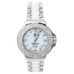 Tag Heuer White Stainless Steel & Ceramic Diamonds Formula Women's Wristwatch 37