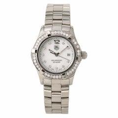 Tag Heuer Womens Aquaracer WAF1416 Quartz Stainless MOP Dial Diamond Watch 28mm