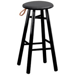 TAG Stool High, Black Ash Structure & Leather-Upholstered Seat by Ichiro Iwasaki
