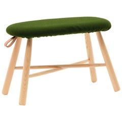 TAG Stool Large, Solid Ash Structure & Kvadrat Upholstered Seat, Ichiro Iwasaki