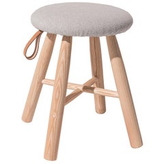 TAG Stool Low, Solid Ash Structure & Kvadrat-Upholstered Seat by Ichiro Iwasaki