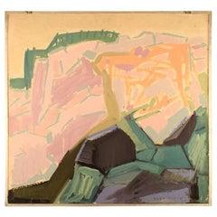 Tage Björk Swedish Painter, Modernist Landscape, Oil on Plate, 1960