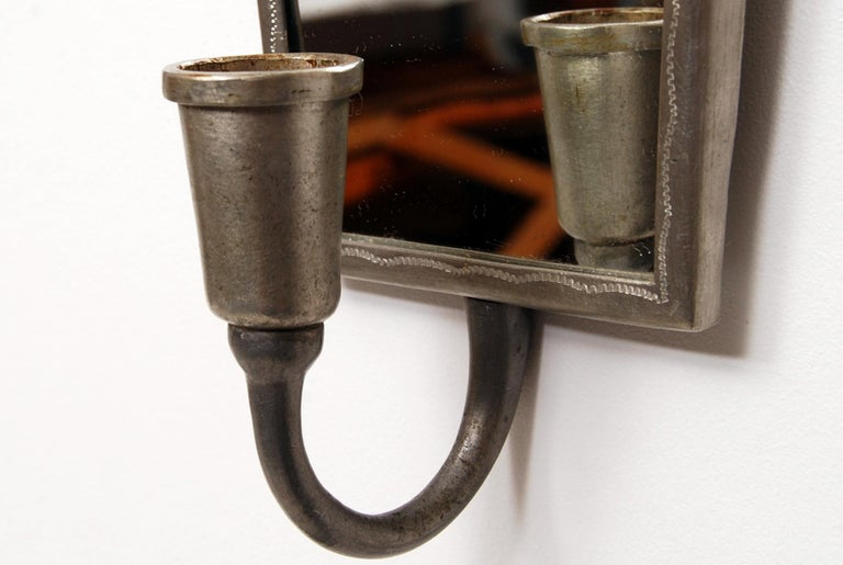 Tage Fougstedt Pewter Mirror and Sconces, Swedish Grace, 1920s For Sale 7