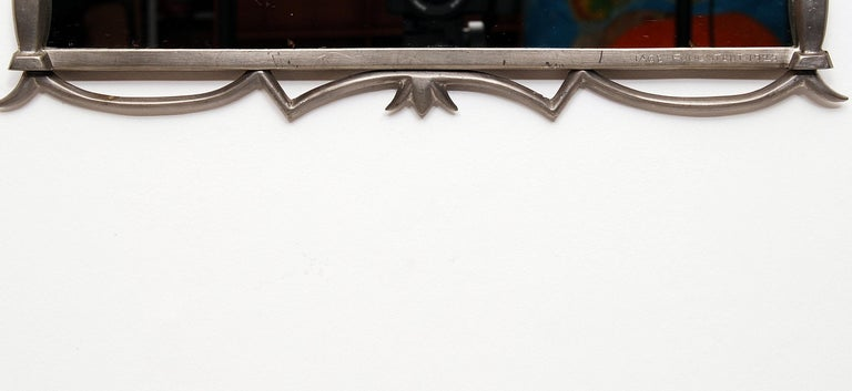 Early 20th Century Tage Fougstedt Pewter Mirror and Sconces, Swedish Grace, 1920s For Sale