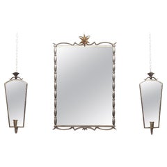 Tage Fougstedt Pewter Mirror and Sconces, Swedish Grace, 1920s