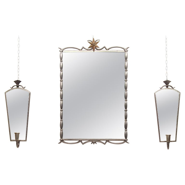 Tage Fougstedt Pewter Mirror and Sconces, Swedish Grace, 1920s For Sale
