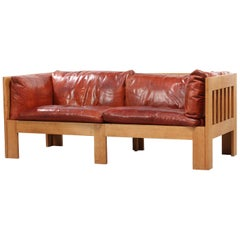 Tage Poulsen Sofa in Red-Brown Patinated Leather and Oak Frame, Model TP632
