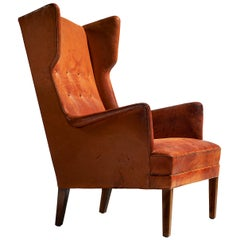 Tage Wernersen Cognac Wingback Easy Chair