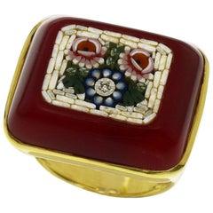 Tagliamonte Diamant Achat Muschel 18 Karat Gelbgold Florenz Mikro Mosaik Ring