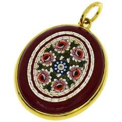 Tagliamonte Diamant Mikro Mosaik Achat 18 Karat Gelbgold Anhänger Charm