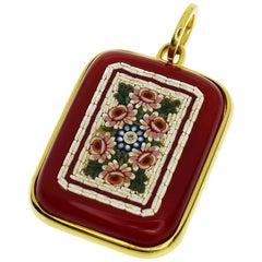 Tagliamonte 18 Karat Yellow Gold Diamond Florentine Mosaic Agate Pendant Top