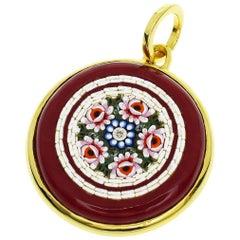 Tagliamonte Florence Mosaic Diamond Agate 18 Karat Yellow Gold Pendant Top