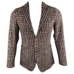 TAGLIATORE Size 34 Brown Plaid Wool / Silk Notch Lapel Metal Button Sport Coat