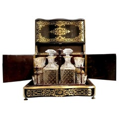 Tahan Napoleon III Liquor Cellar Cabinet and Baccarat Crystal Set, France, 1865