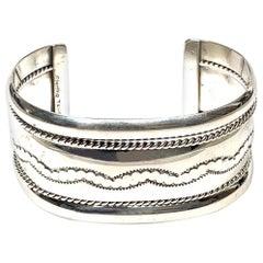 Tahe Navajo Sterling Silver 56 Grams Cuff Bracelet