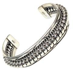 TAHE Navajo Sterling Silver 58 Gr. Cuff Bracelet