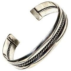 TAHE Navajo Sterling Silver Cuff Bracelet