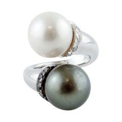 Tahiti and White Pearls, White and Black Diamonds, 18 Karat White Gold Ring