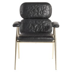 Tahiti Armchair in Leather with Metal Legs by Roberto Cavalli