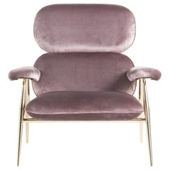 Tahiti Armchair in Pink Fabric with Gold Finish Metal Legs by Roberto Cavalli